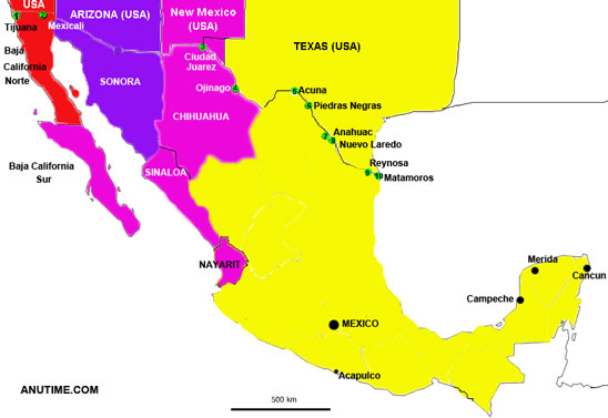 time zone map cancun mexico Mexico Timezones time zone map cancun mexico